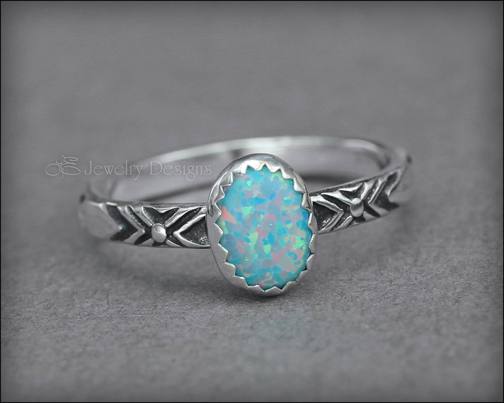 Oval Opal Pattern Ring - (choose color)