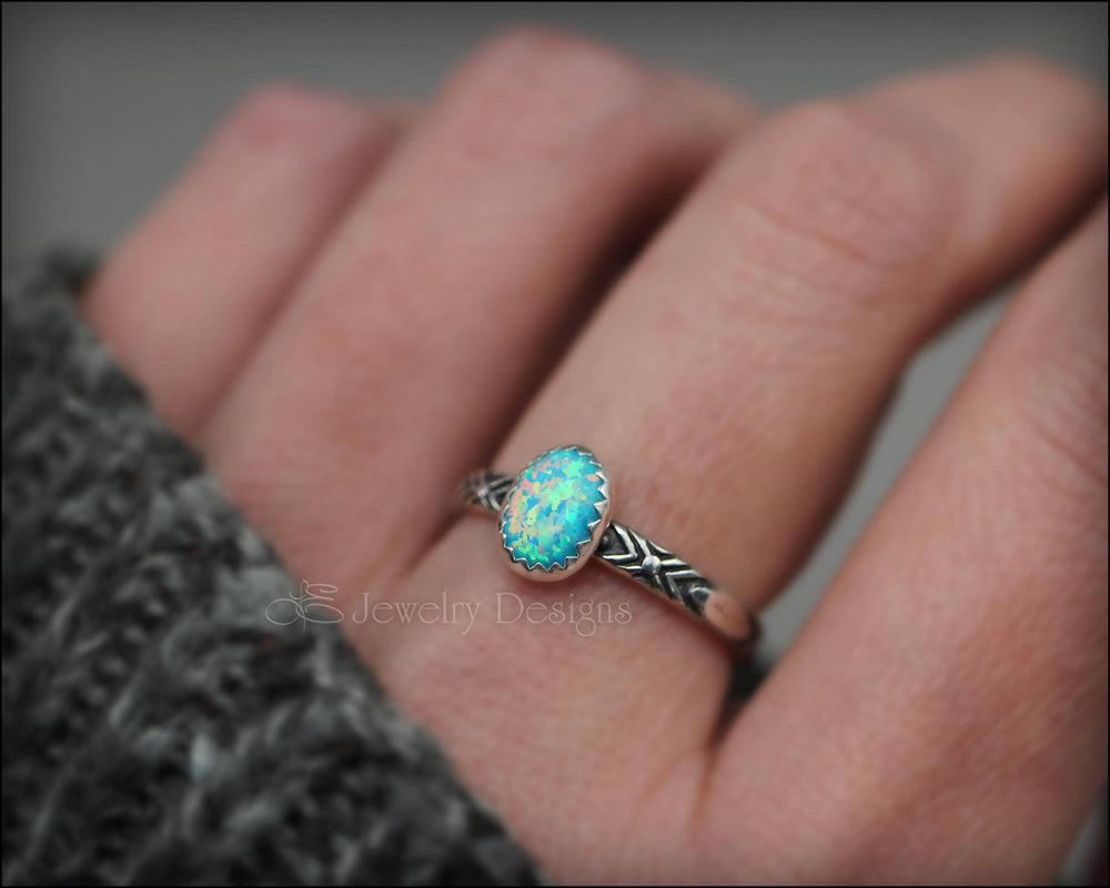 Oval Opal Pattern Ring - (choose color) - LE Jewelry Designs