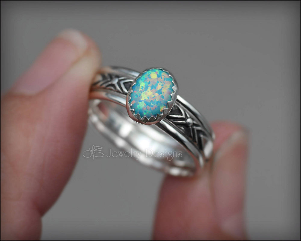 Oval Opal Ring Set - (choose color)
