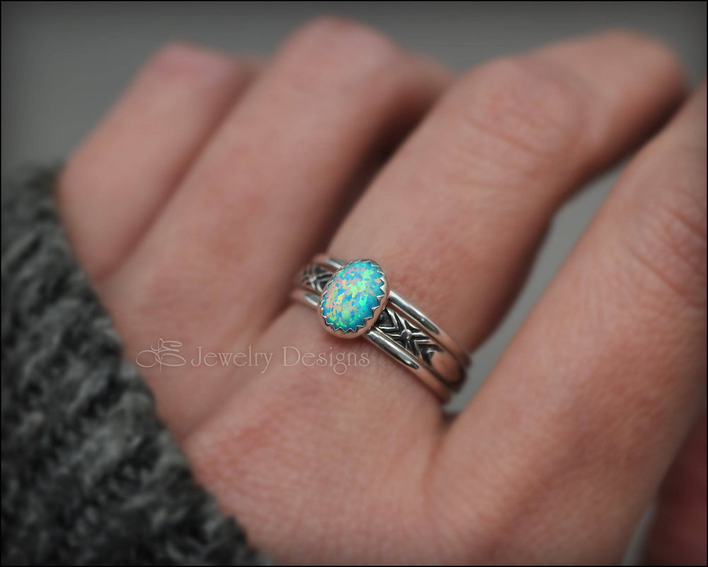 Oval Opal Ring Set - (choose color) - LE Jewelry Designs