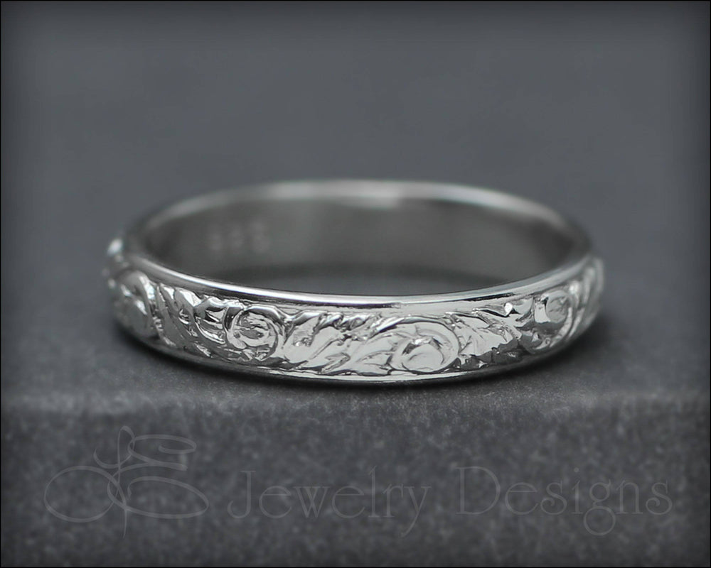 Skinny Sterling Floral Band