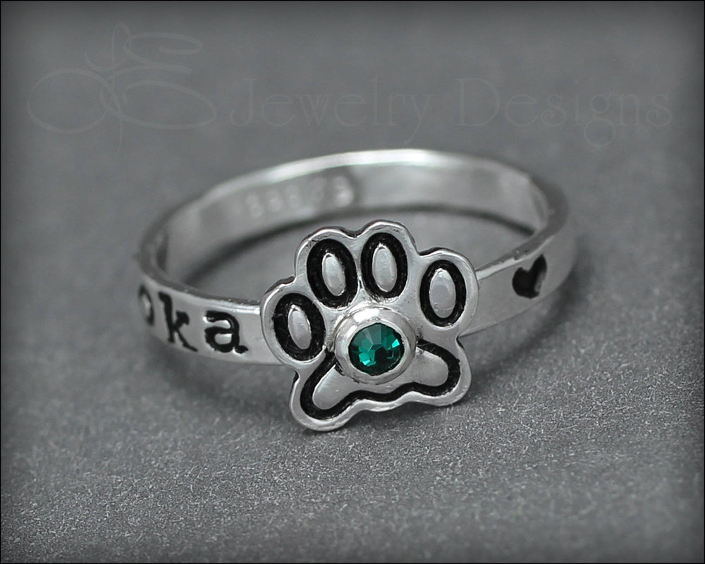 Personalized Paw Print Ring