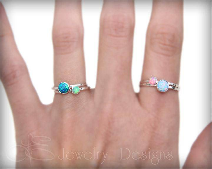 Silver Opal Ring Set - (6mm & 4mm) - LE Jewelry Designs