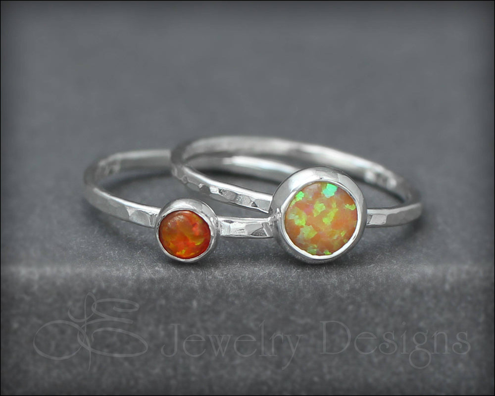 Silver Opal Ring Set - (6mm)