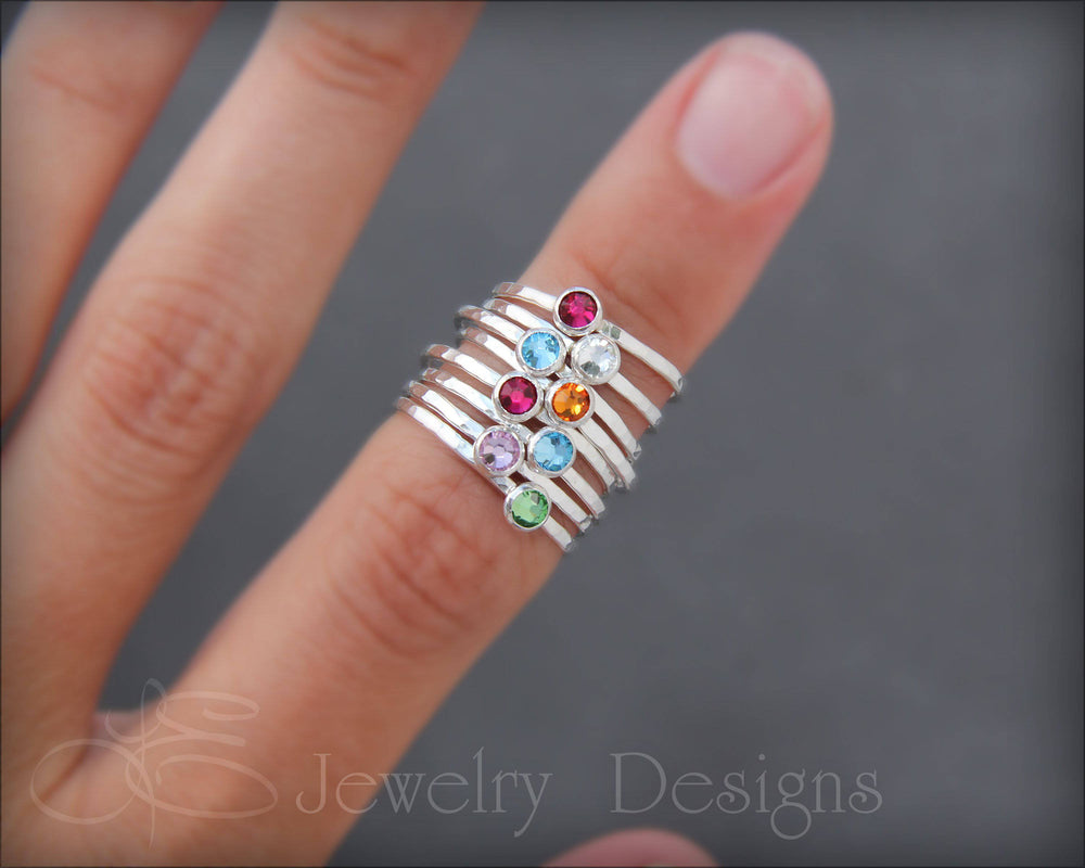 Silver Birthstone or Opal Stacking Ring