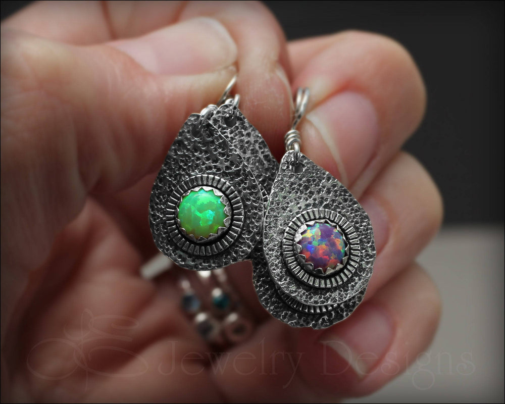 Artisan Opal Teardrop Earrings - LE Jewelry Designs