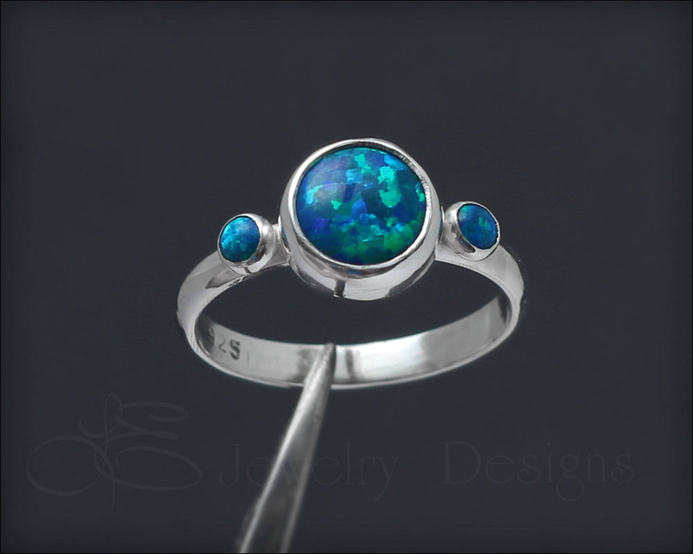 Sterling Silver Opal Trio Ring
