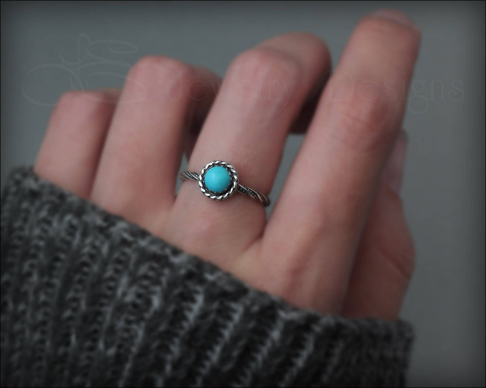 Twisted Sterling Turquoise Ring
