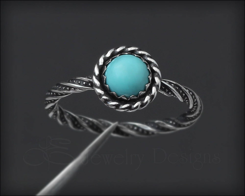 Twisted Sterling Turquoise Ring - LE Jewelry Designs