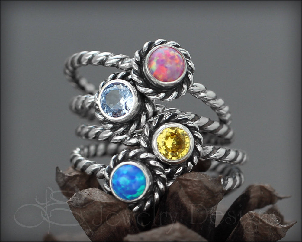 Twisted Rope Birthstone or Opal Ring - LE Jewelry Designs