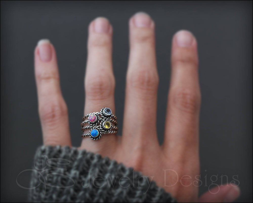Twisted Rope Birthstone or Opal Ring