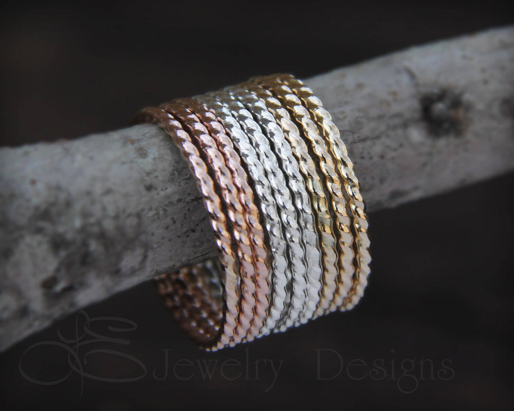 Twisted Stacking Rings - (choose metal)