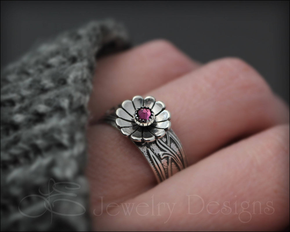 Wide Band Flower Birthstone Ring - LE Jewelry Designs