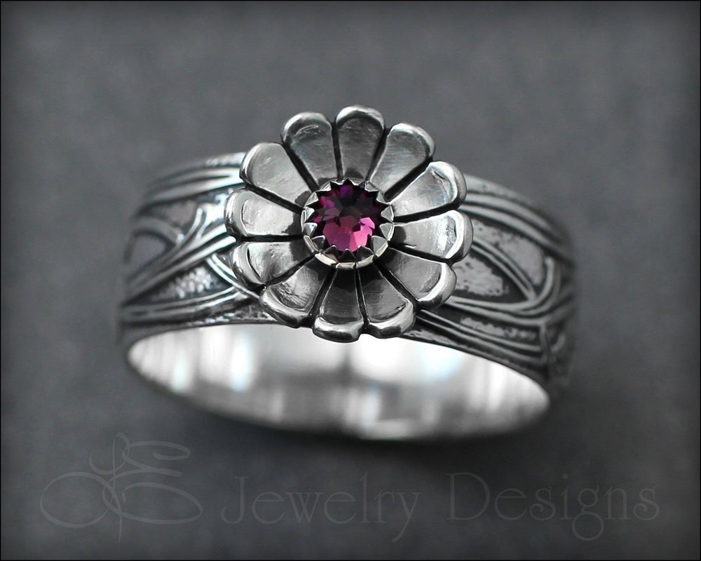 Wide Band Flower Birthstone Ring