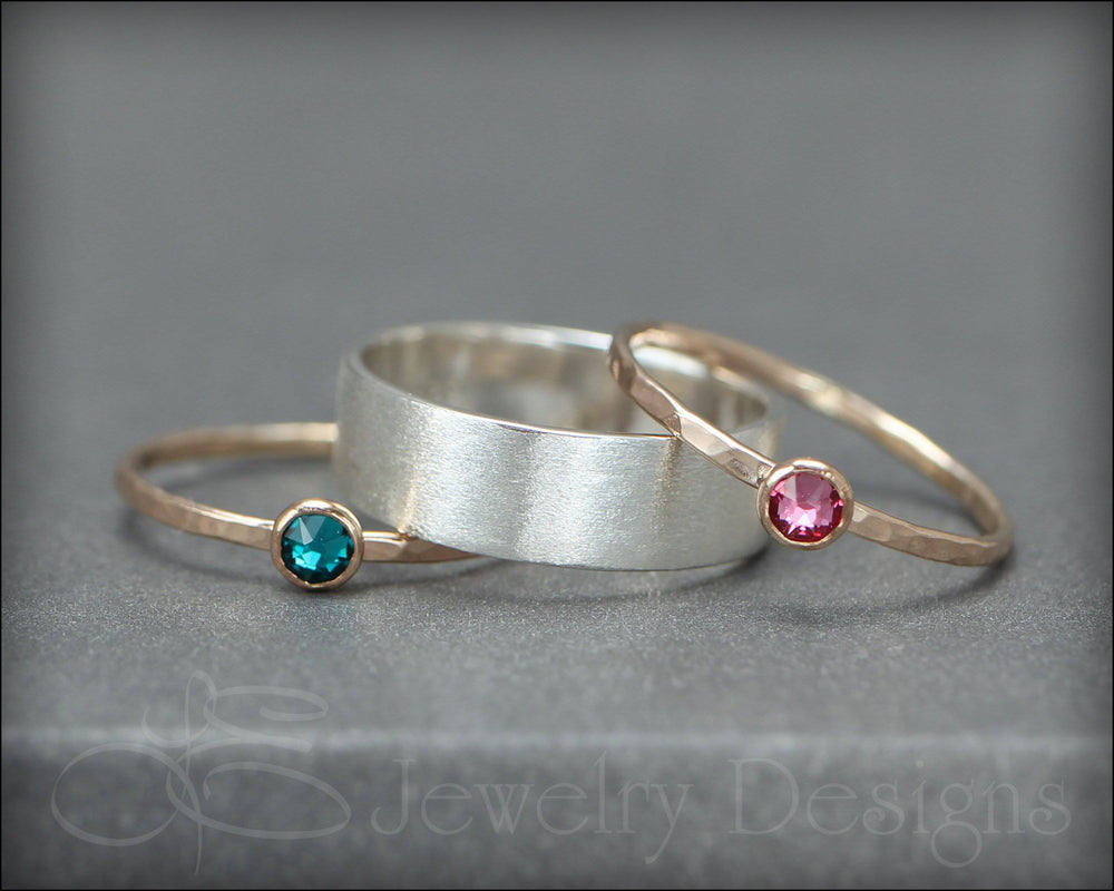 Wide Band Birthstone Ring Set