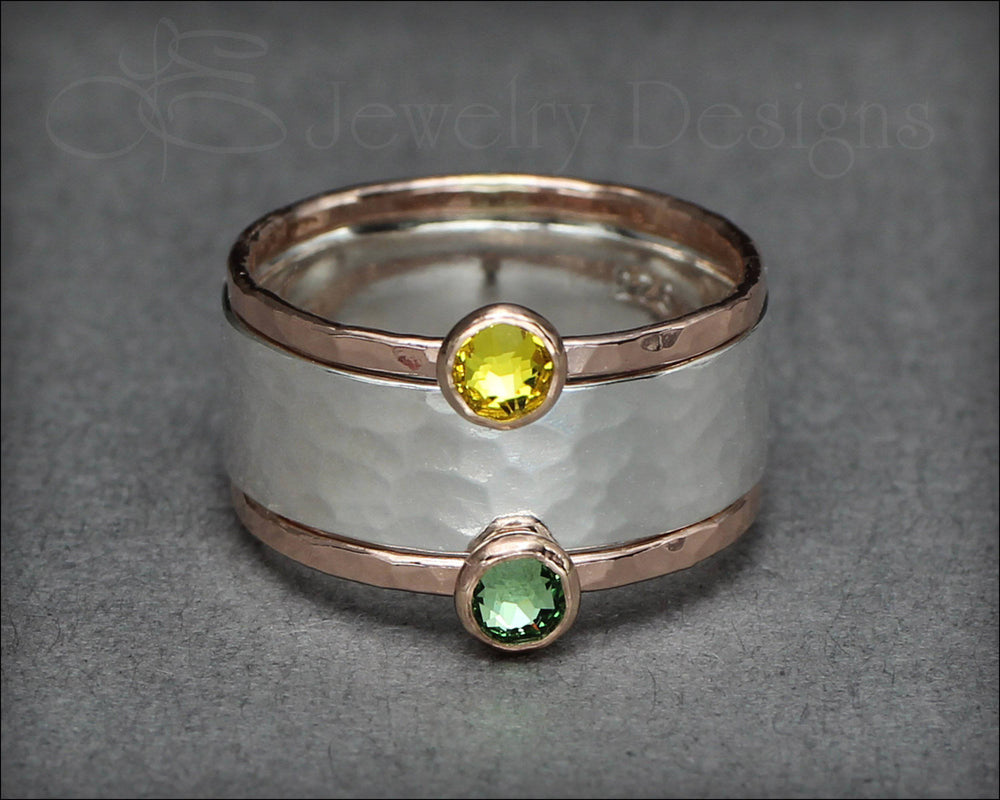 Wide Band Birthstone Ring Set - LE Jewelry Designs