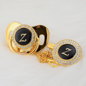 Baby Bling Gold Crystal Initial Pacifier + Clip - Letter Z
