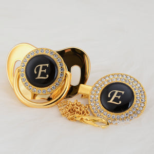 Baby Bling Gold Crystal Initial Pacifier + Clip - Letter E