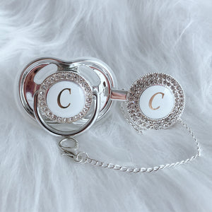 Baby Bling Crystal Initial Pacifier + Clip - Letter C