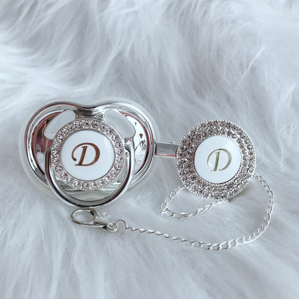 Baby Bling Crystal Initial Pacifier + Clip - Letter D