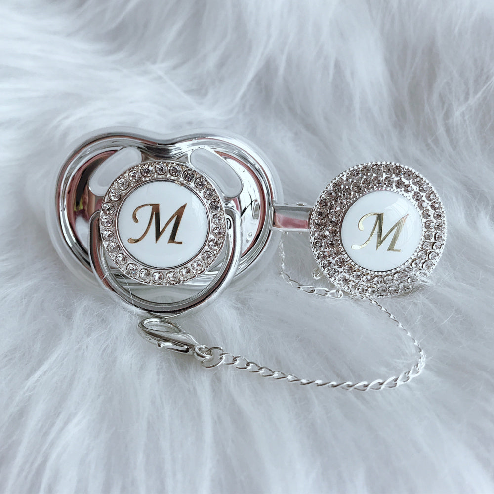 Baby Bling Crystal Initial Pacifier + Clip - Letter M