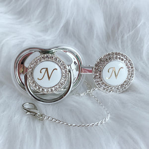 Baby Bling Crystal Initial Pacifier + Clip - Letter N