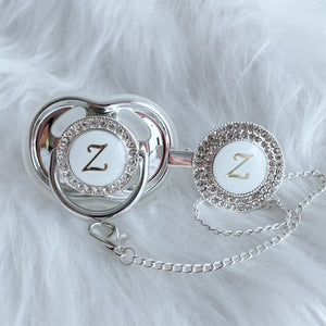 Baby Bling Crystal Initial Pacifier + Clip - Letter Z