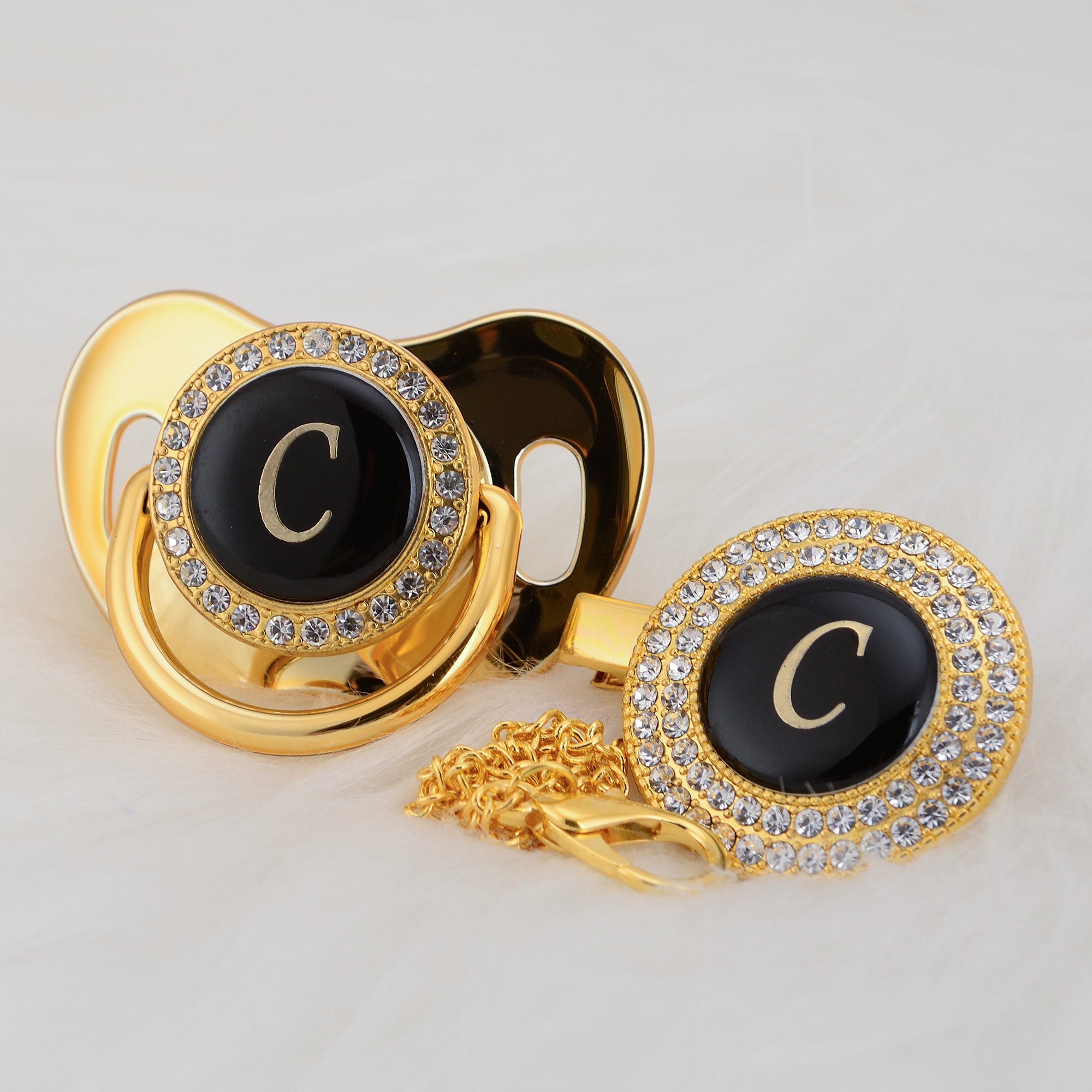 Baby Bling Gold Crystal Initial Pacifier + Clip - Letter C