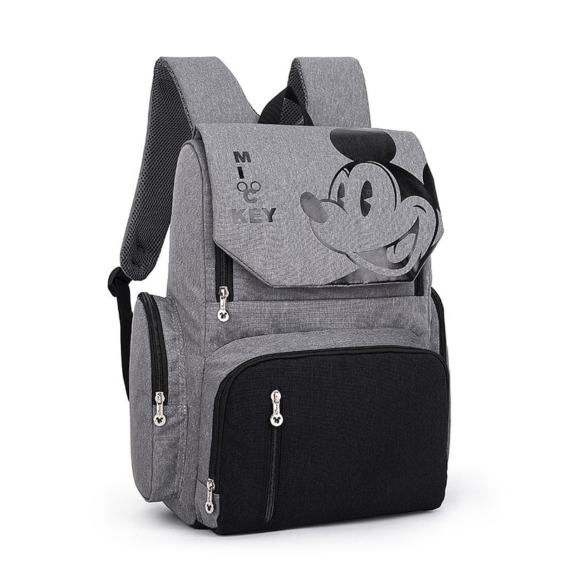 The Mamma Mickey Diaper Backpack - Black/Grey