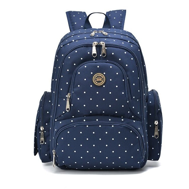 On-the-Go Mamma Diaper Backpack - Blue Dots