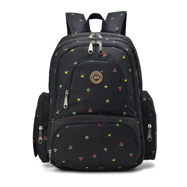 On-the-Go Mamma Diaper Backpack - Black Flowers
