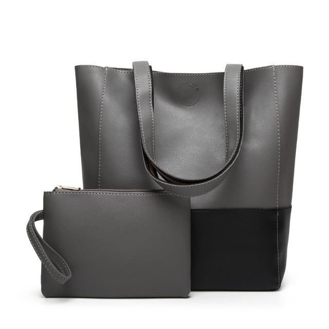 The Mamma Shoulder Bag + Matching Purse - Grey / Black