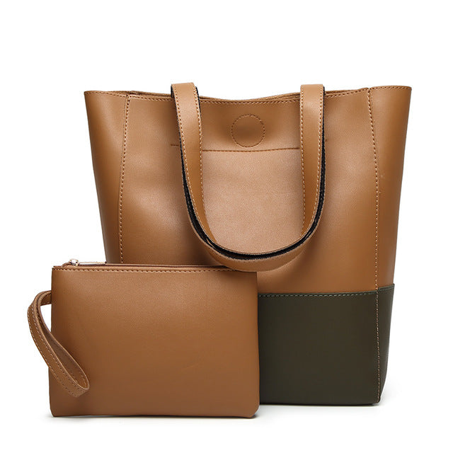 The Mamma Shoulder Bag + Matching Purse - Light/Dark Brown