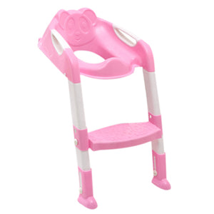 Folding Potty Training Seat with Adjustable Ladder - Pink