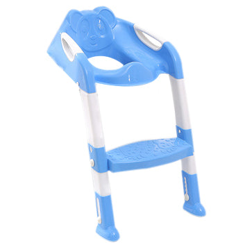 Folding Potty Training Seat with Adjustable Ladder - Blue