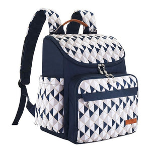 The Mamma Diaper Backpack - Blue/White/Grey