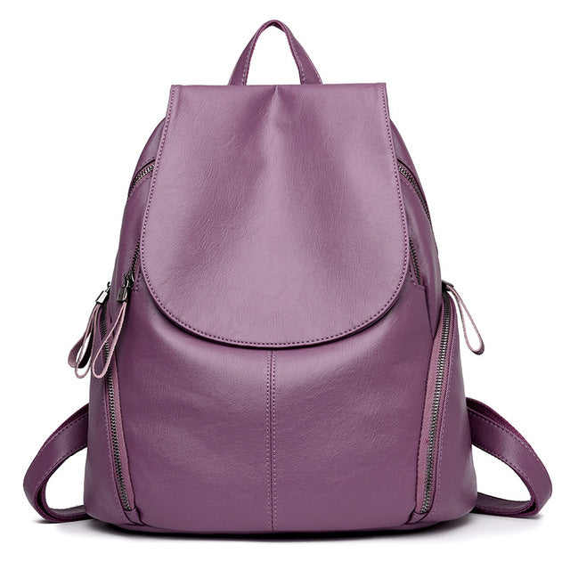 The Mamma Leather Shoulder Bag - Purple