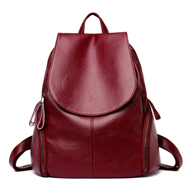 The Mamma Leather Shoulder Bag - Burgundy