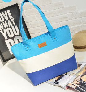 The Mamma Tote - Teal / White / Blue