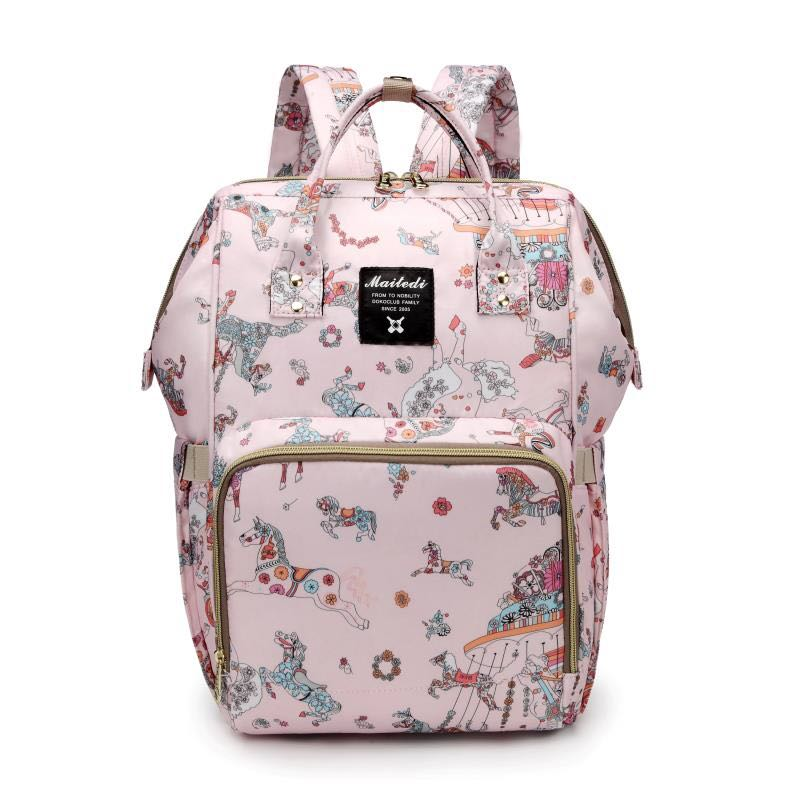 The Mamma Diaper Bag - Pink Horses