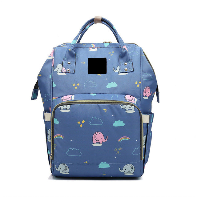 The Mamma Diaper Bag- Blue Elephants