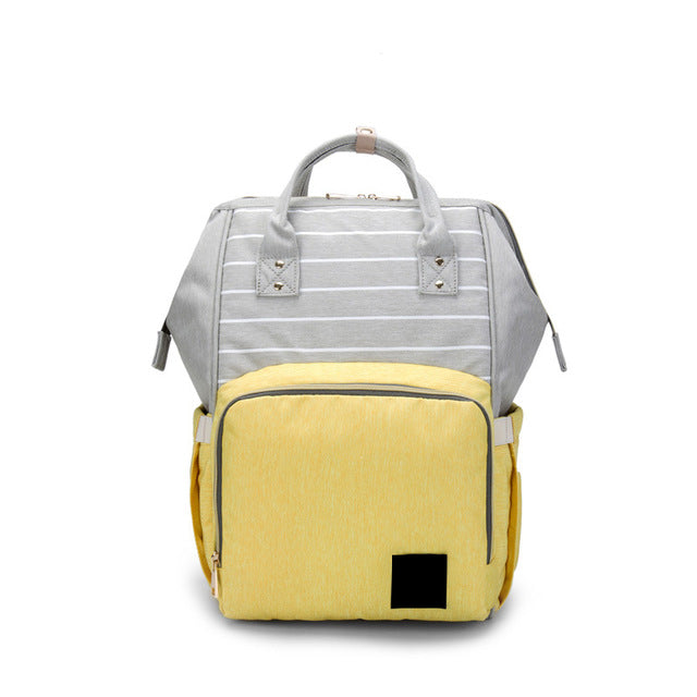 The Mamma Diaper Bag - Grey/Yellow