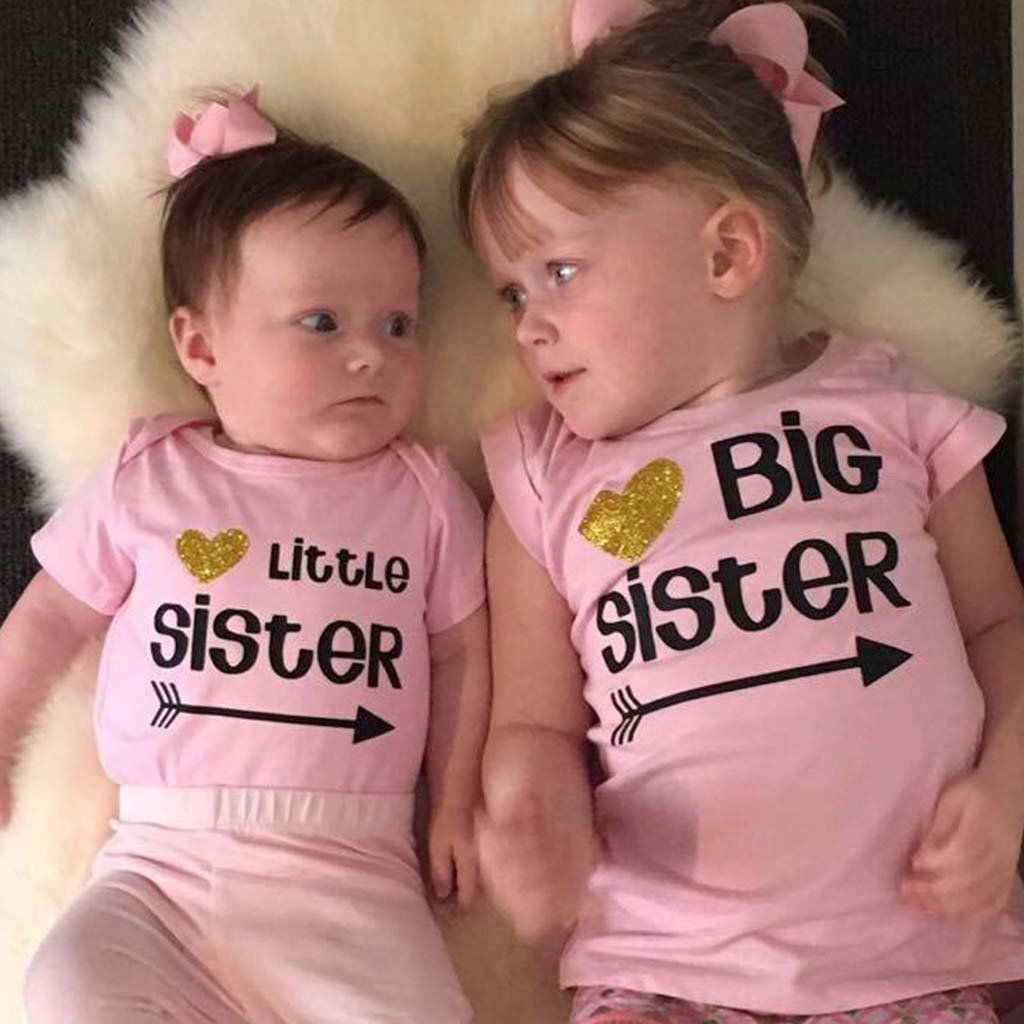 Little Sister / Big Sister Pink Tops