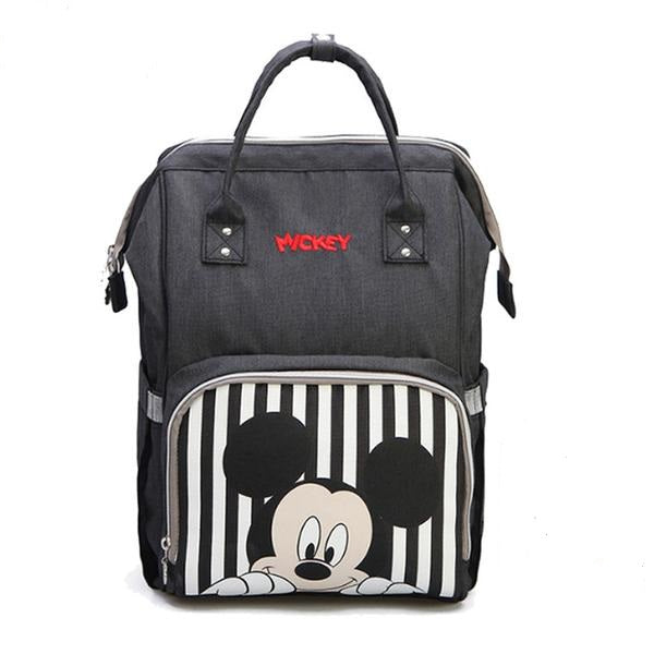 The Mamma Mickey Diaper Bag - Black/Grey Stripes