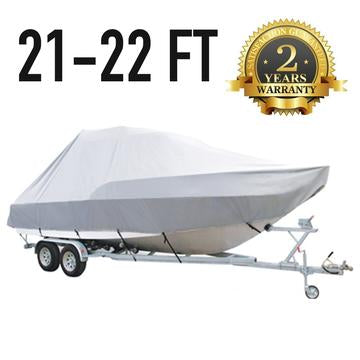 21 FT - 22 FT : Jumbo T-Top Boat Cover : 2 Year Warrant