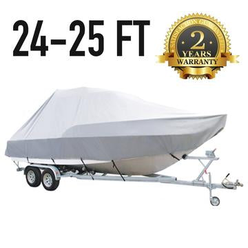 24 FT - 25 FT : Jumbo T-Top Boat Cover : 2 Year Warranty