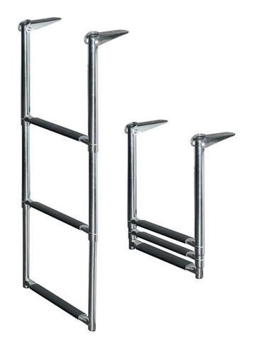 3 Step Telescoping Ladder - Stainless Steel
