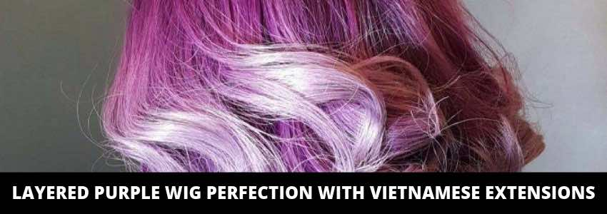 Layered Purple Wig Perfection with Vietnamese Extensions