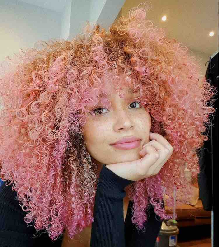 pink curly afro