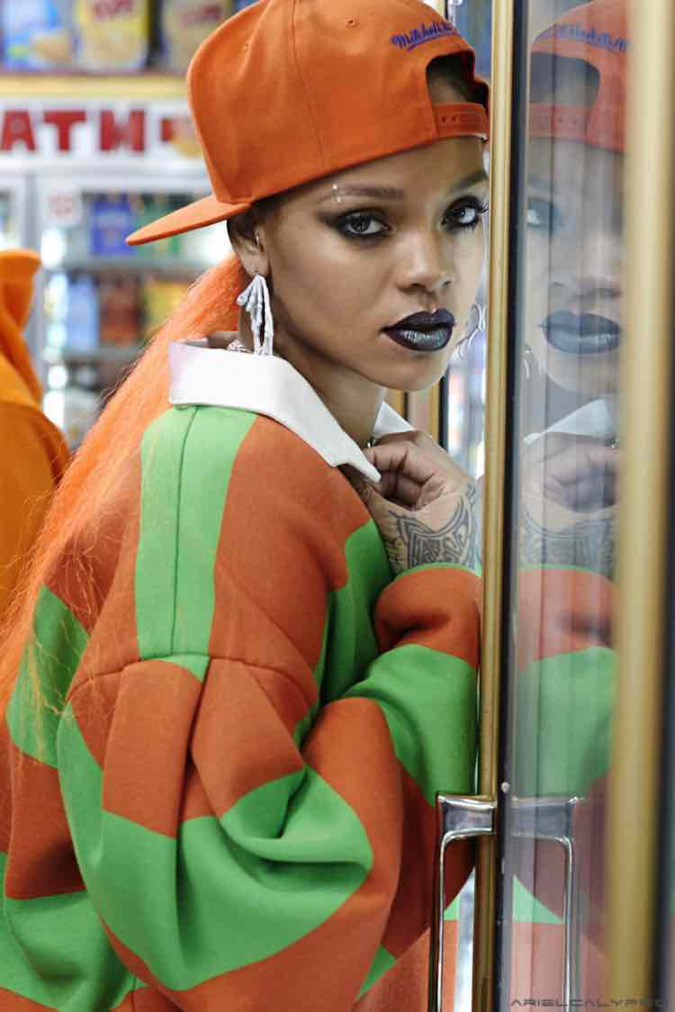 rihanna-orange-ponytail-
